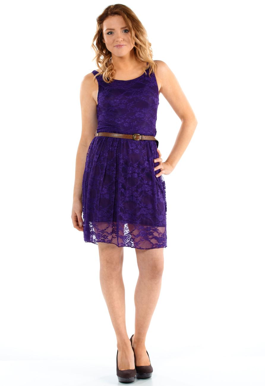 Purple Lace Skater Dress Miss Rebel