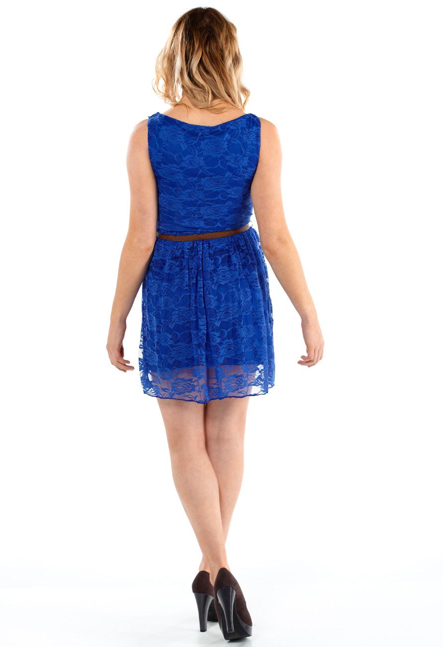 Royal Blue Belted Lace Skater Dress Miss Rebel