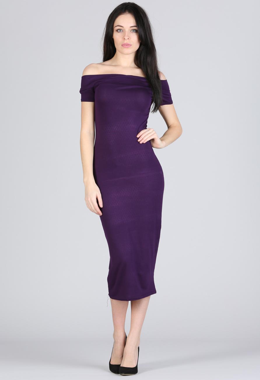 Bardot Off Shoulder Dress In Purple Miss Rebel