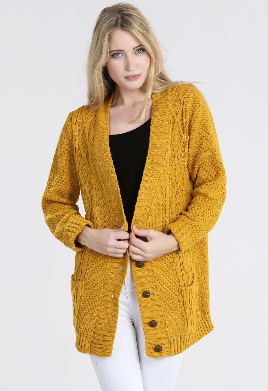 Chunky Knitted Grandad Cardigan in Mustard | Miss Rebel