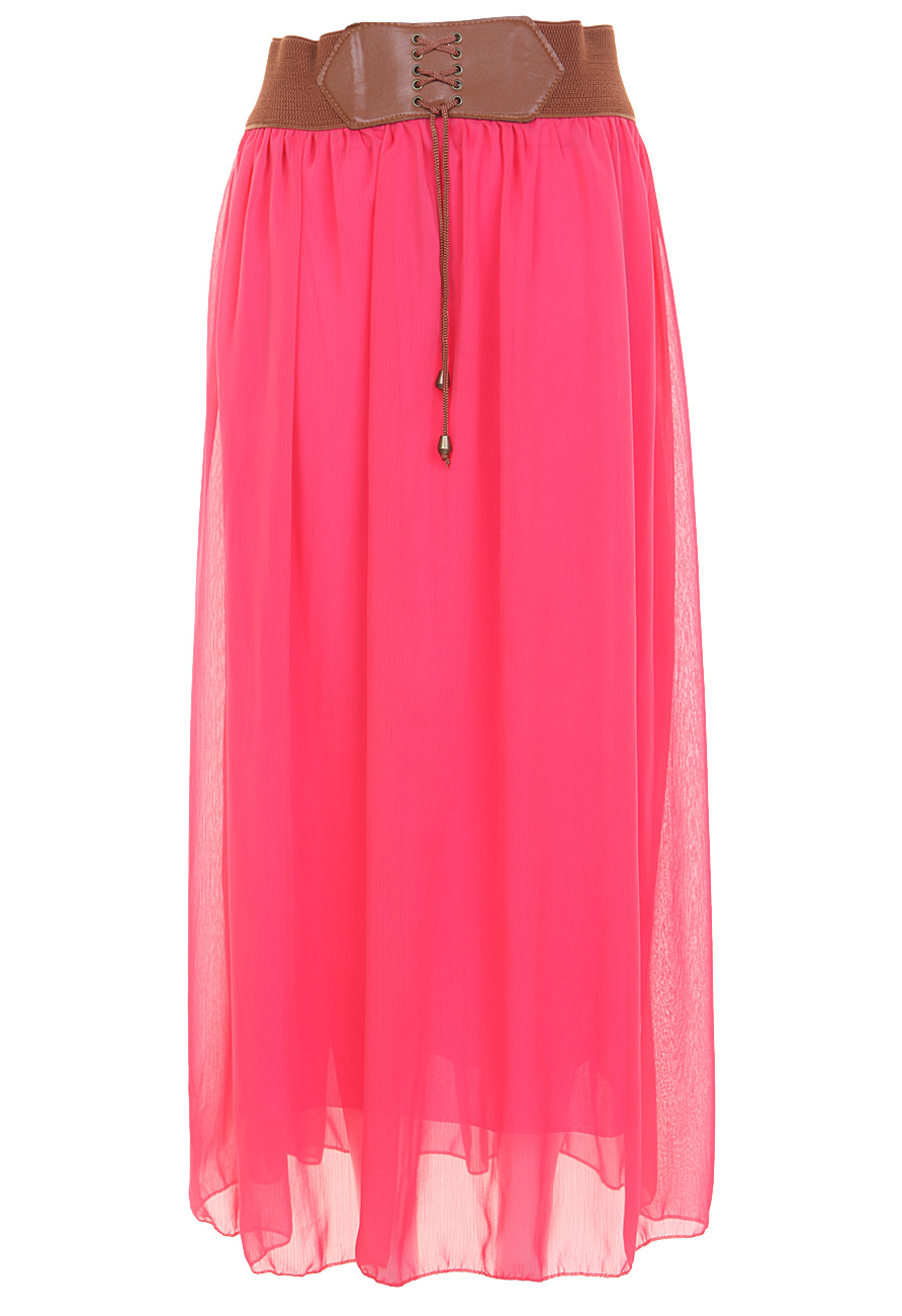 belted chiffon maxi skirt in neon pink miss rebel