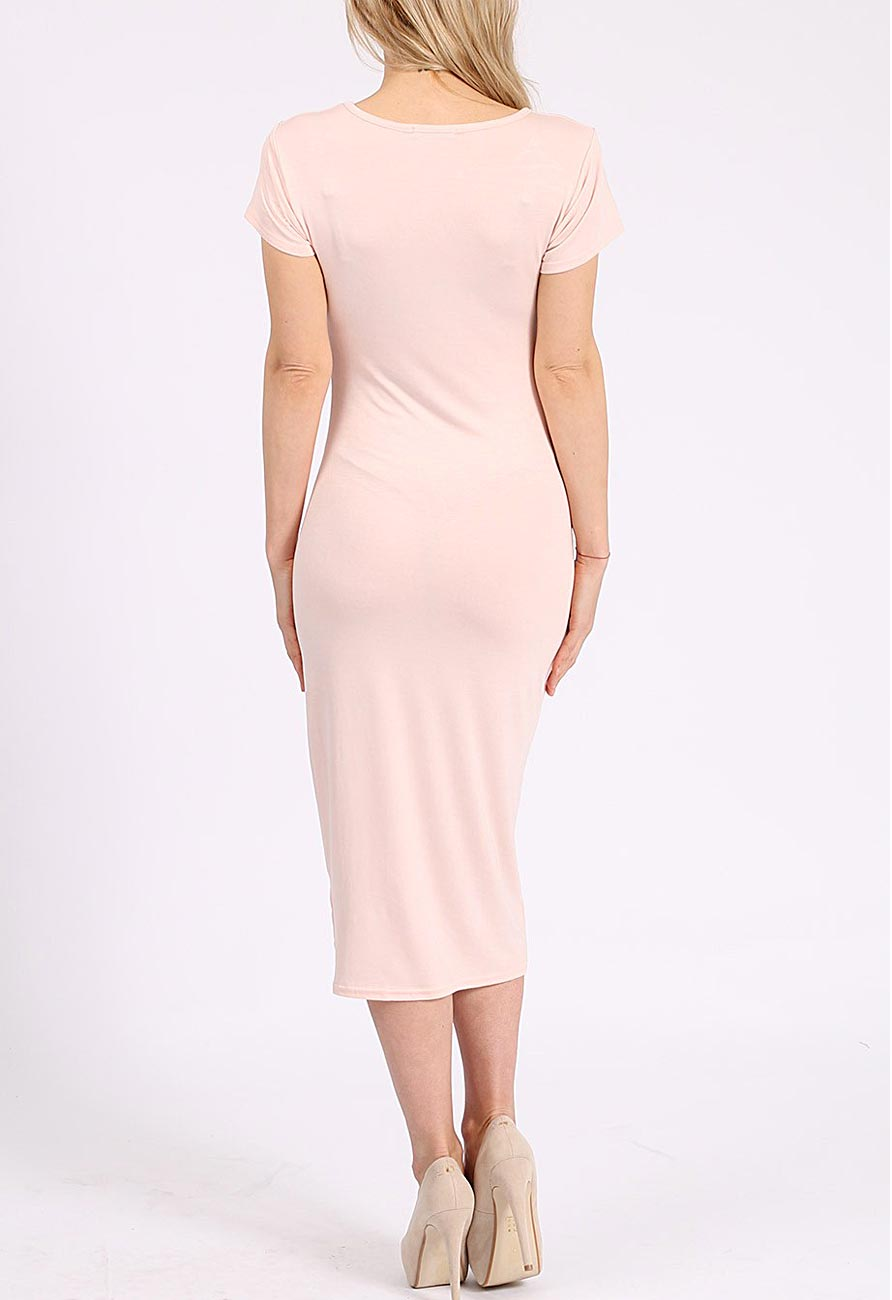 Cap Sleeve Midi Dress In Nude Miss Rebel