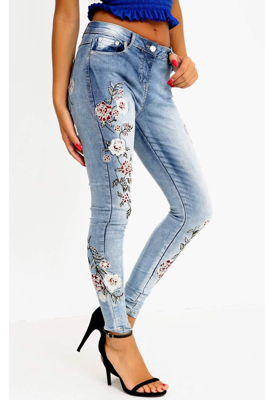 Zara flower embroidered denim skinny jeans miss rebel