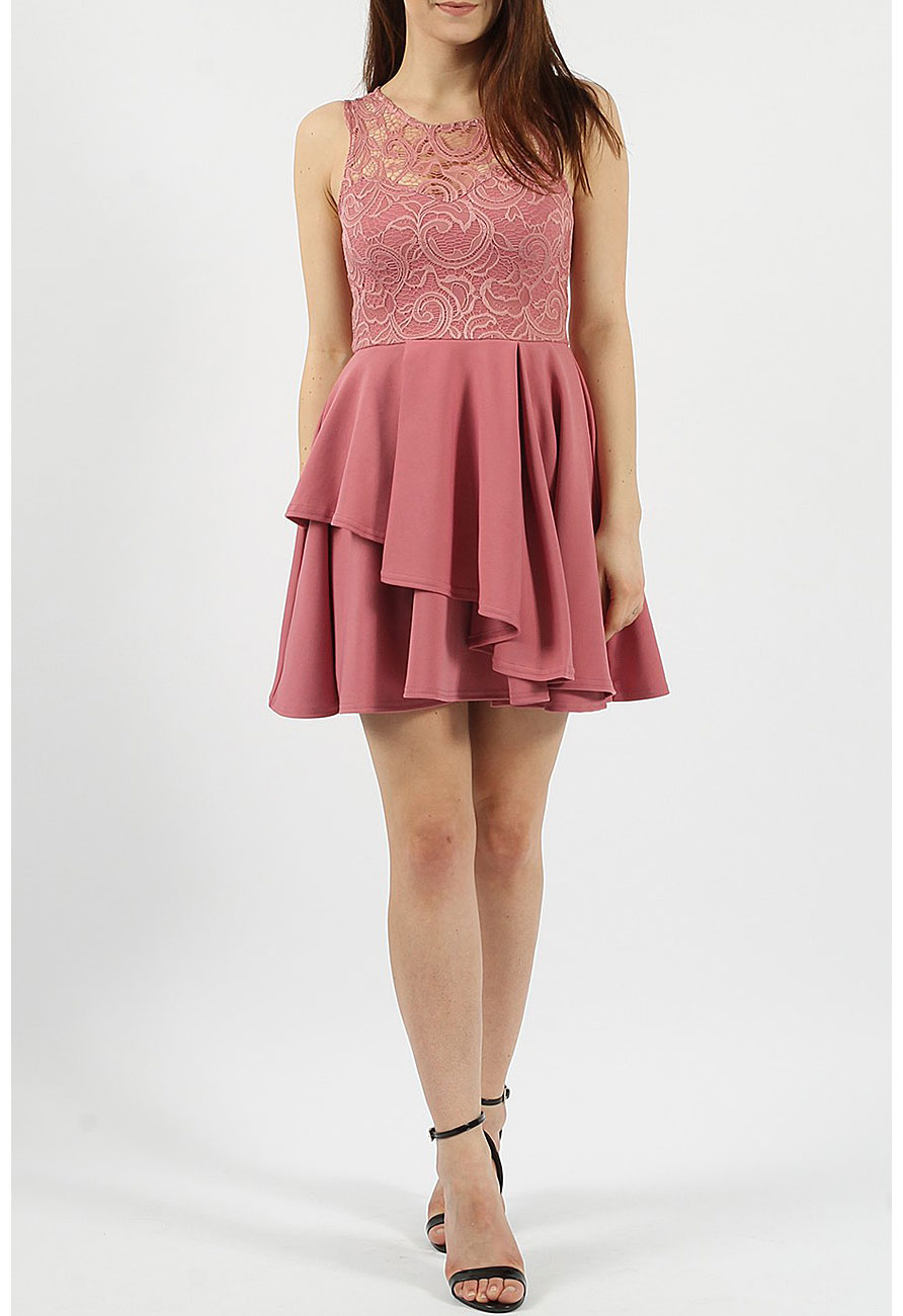 403c01d8fe74 Lace Double Frill Skater Dress in Rose | Miss Rebel
