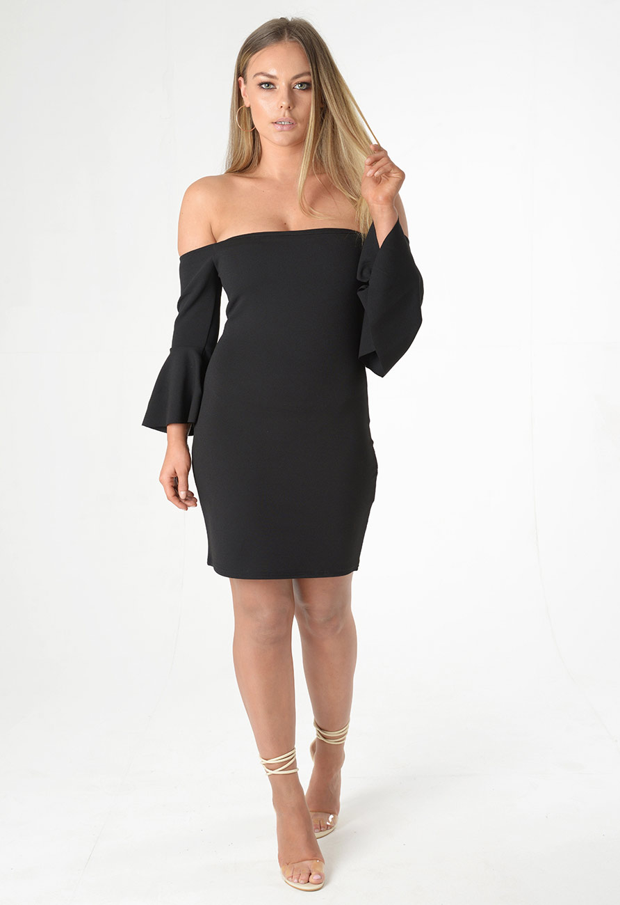 Sleeve Off Bell Bodycon Long Dresses Zipper Shoulder Sleeve sleeved backless neiman