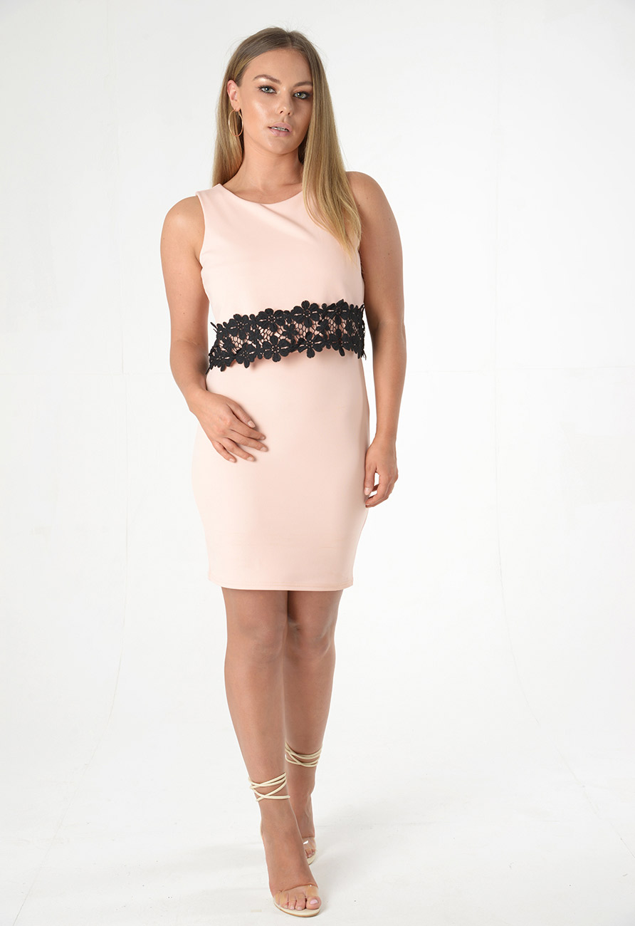 Bodycon Dress with Lace Trim Detail