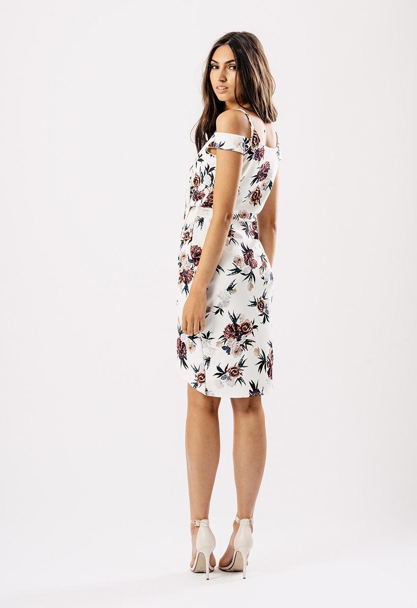 Cream Floral Wrap Asymmetric Hem Dress Miss Rebel