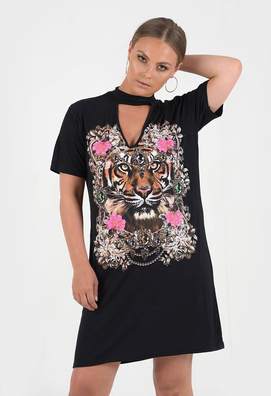 7d00e142 Indian Tiger Print Choker Neck Tee Dress | Miss Rebel