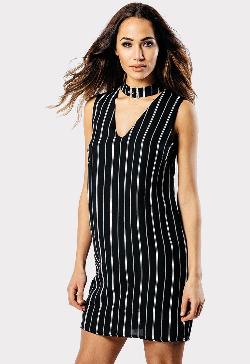 Black Buckle Choker Cocktail Dress Dress
