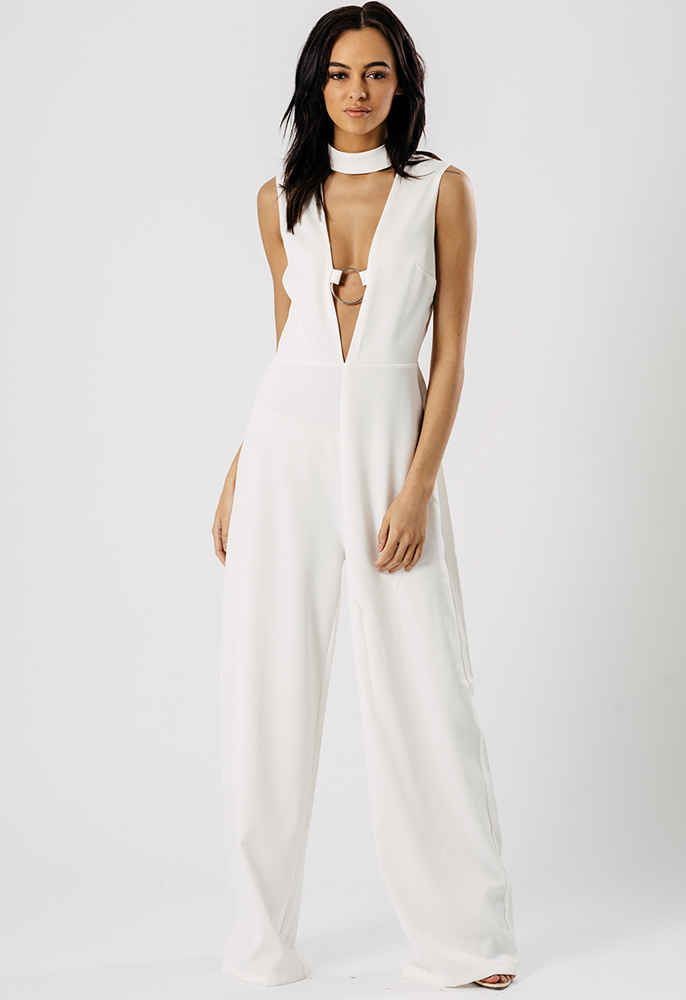 2982366176d9 Wide Leg Choker Plunge Neck Ring Jumpsuit in White