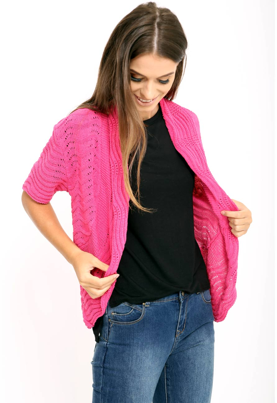 Short Sleeve Knitted Shrug Cardigan in Pink | Miss Rebel