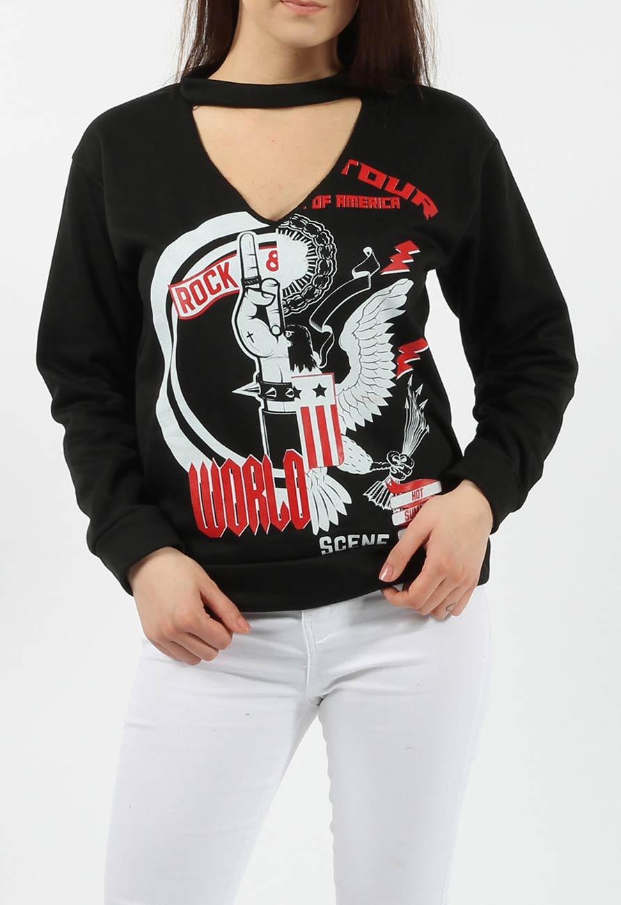 8e061a96 Rock World Slogan Choker Sweatshirt in Black | Miss Rebel