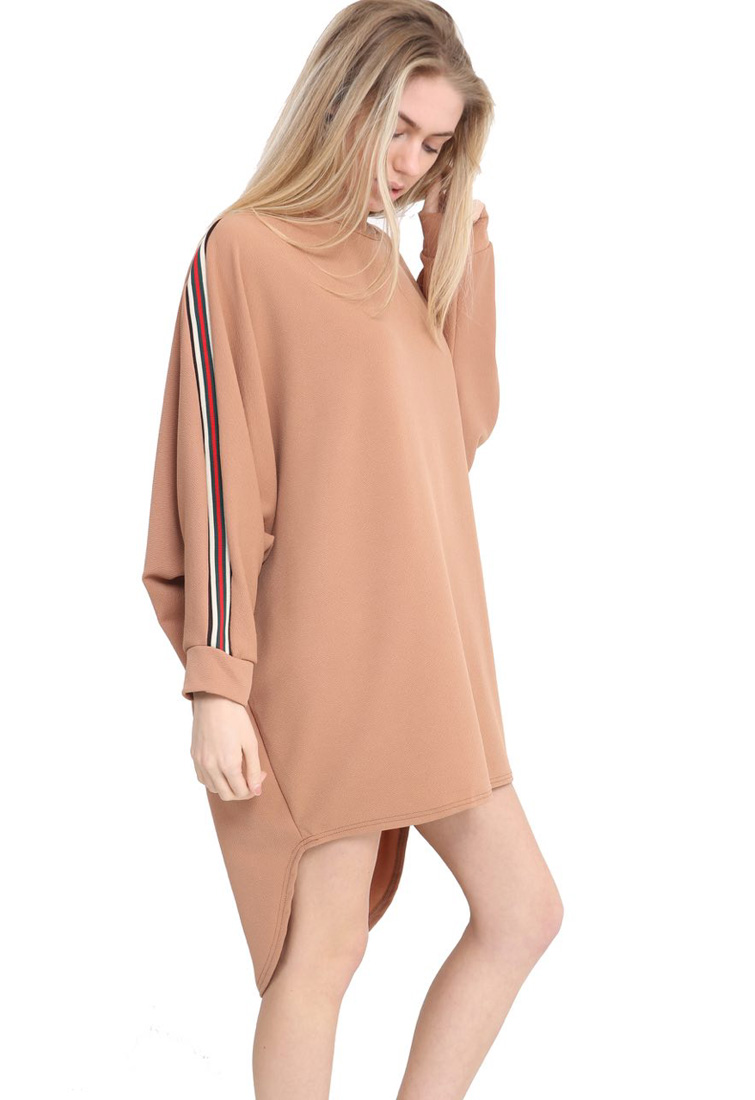 93969a2fe0b4 Camel Striped Long Sleeve Baggy Top | Miss Rebel