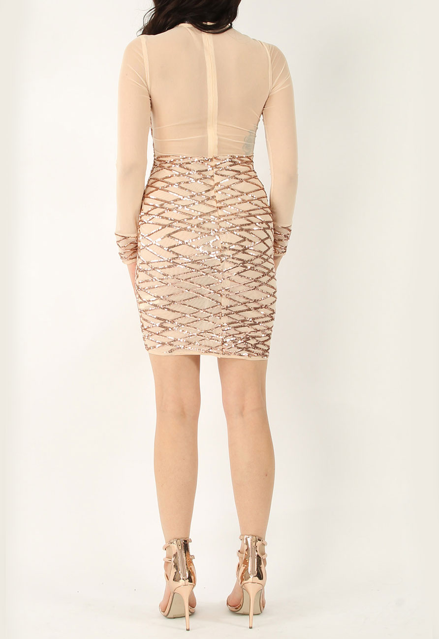 Arab emirates mesh sequin rose bodycon dress for concealed