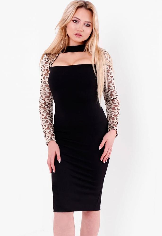 50aaf1e13627 Gold Mesh Sleeve Bodycon Dress | Miss Rebel