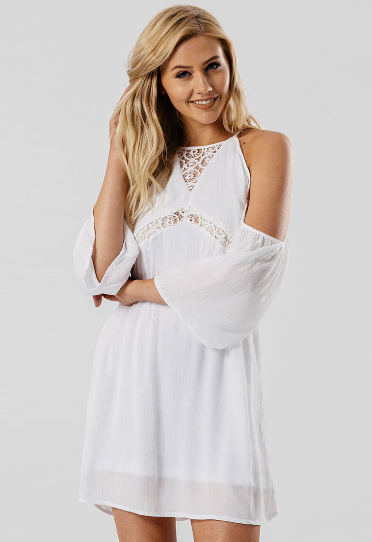 24f82aef983 White Cheesecloth Cold Shoulder Dress With Lace Detail