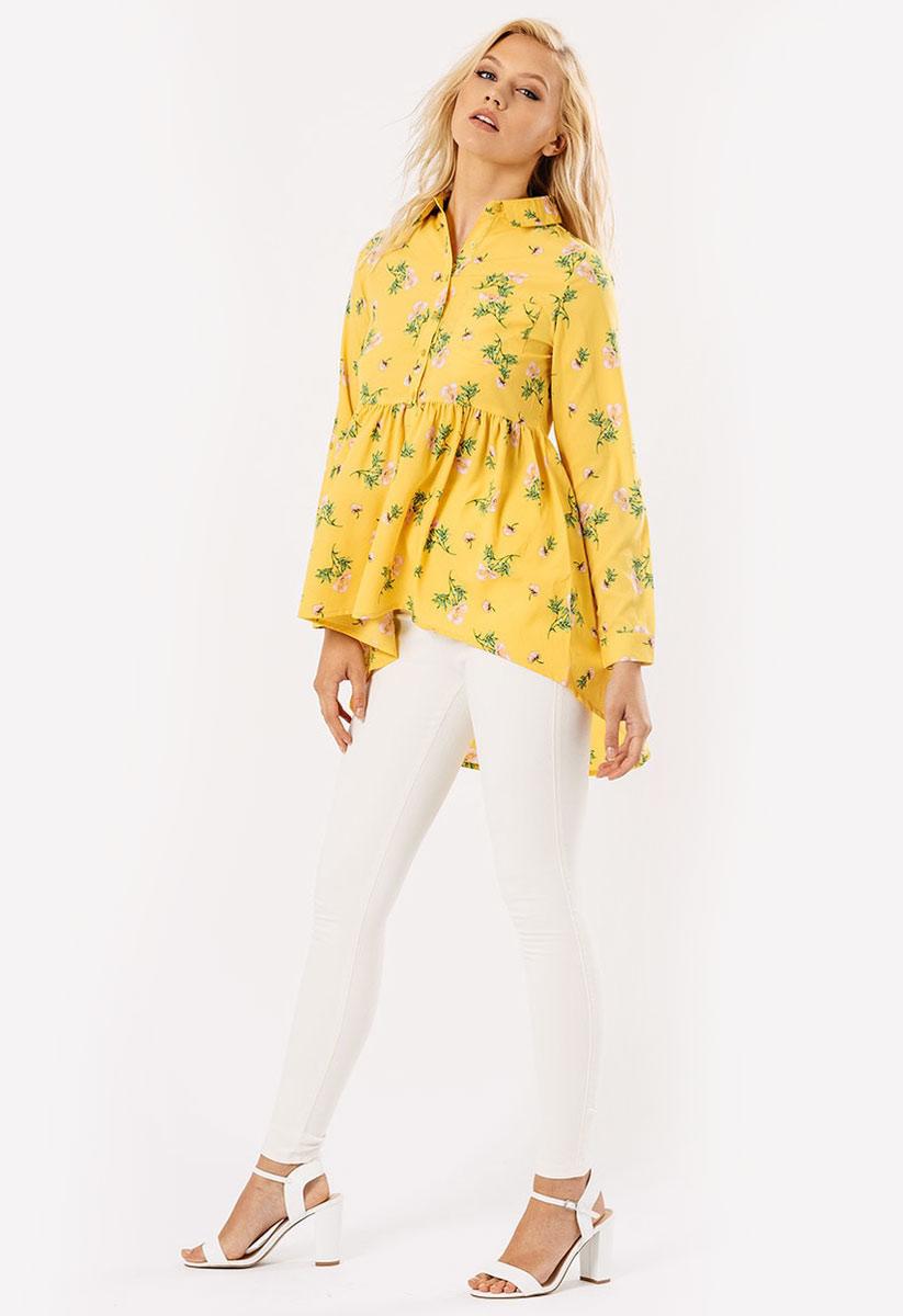 Womens Ladies Mustard Floral Dip Hem Shirt