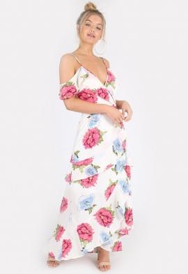 caa5c7a773c0 Quick View · Cream Floral Cold Shoulder Maxi Wrap Dress