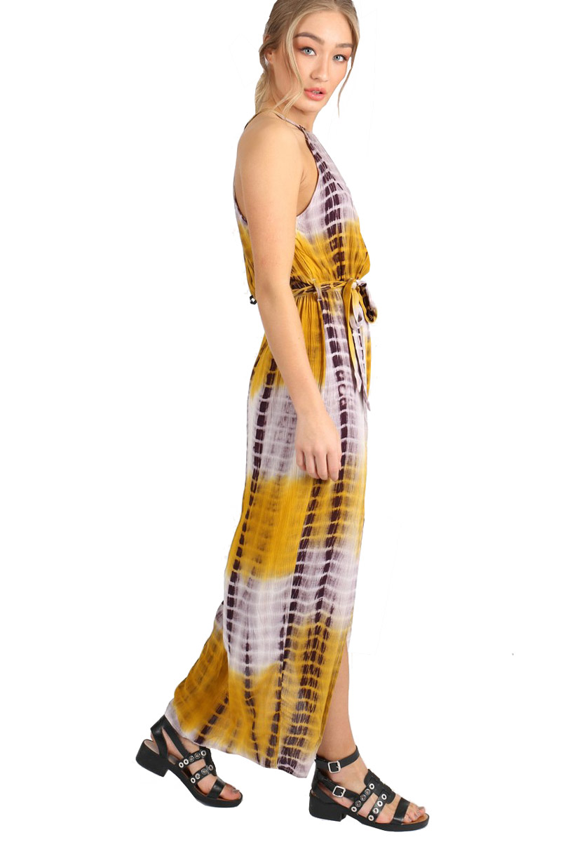 Mustard Tie Dye Cheesecloth Double Split Maxi Dress Miss