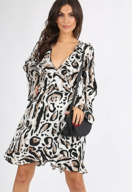 433cd91b65 Quick View · Leopard Print Flute Sleeve Wrap Dress