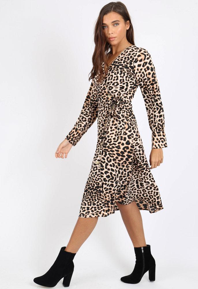 Leopard Print Side Tie Button Wrap Midi Dress Miss Rebel