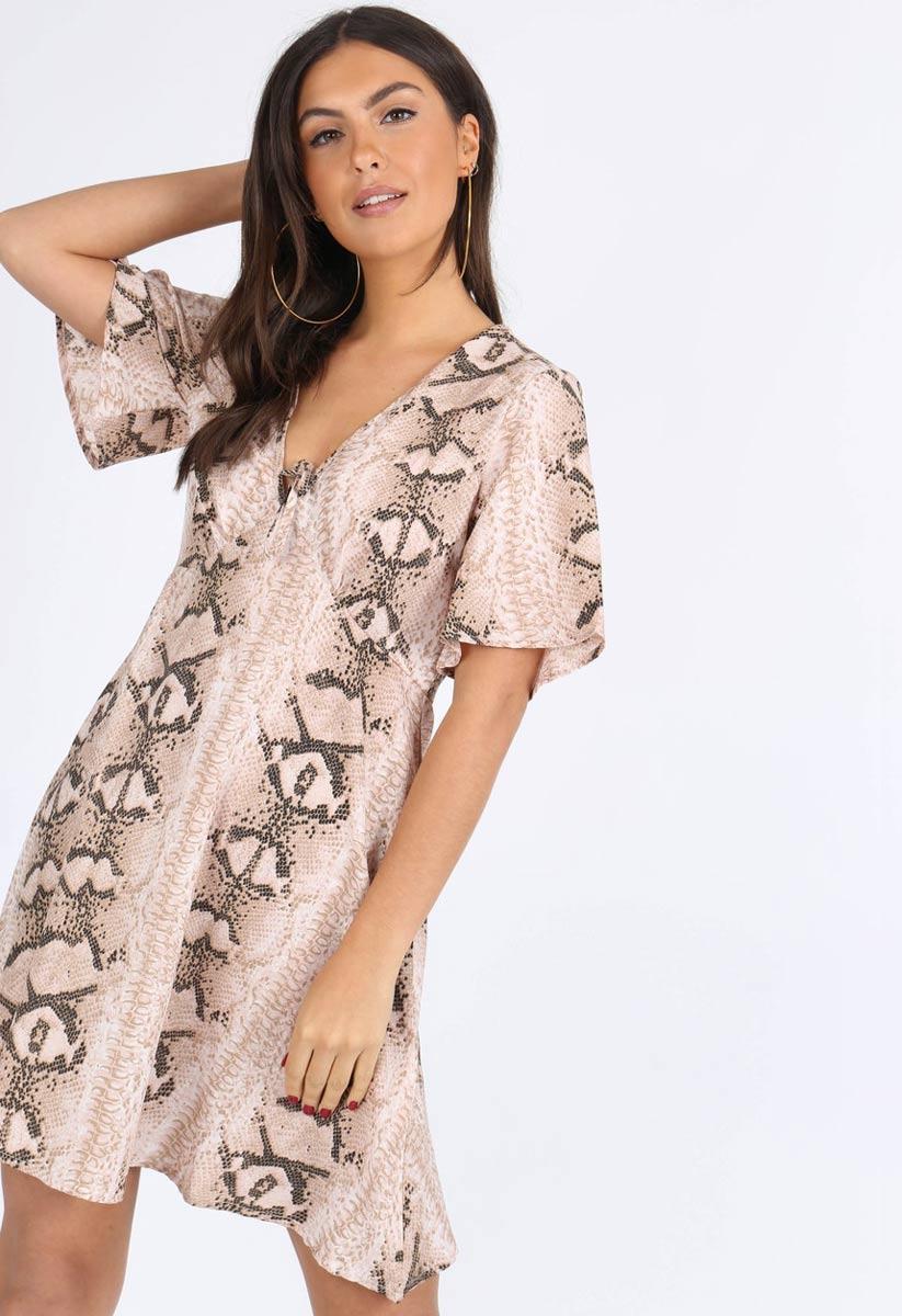ffaa5fb8ea Stone Animal Print Tie Front Babydoll Dress | Miss Rebel