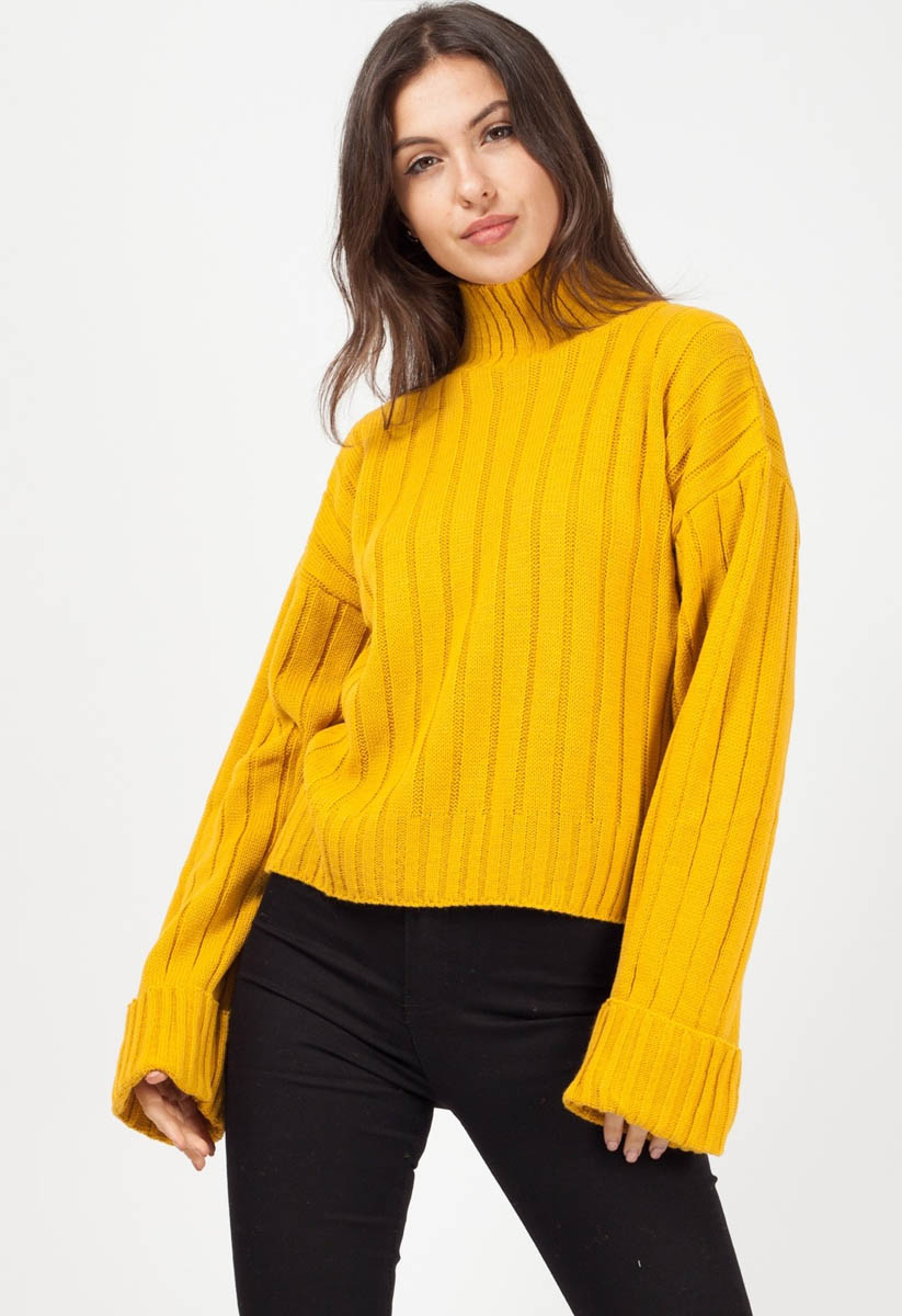 eb246d63e73 Mustard Turtle Neck Knitted Jumper | Miss Rebel