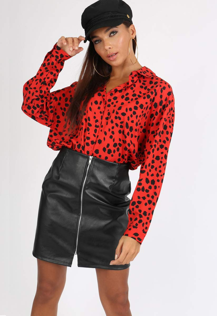 39d9b37c Red Animal Print Oversized Shirt (Size 16) | Miss Rebel