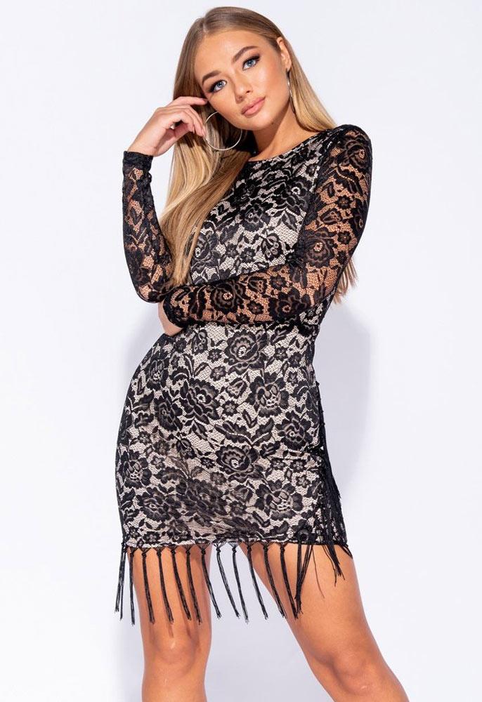 57142e278ebb Black lace Tassle Hem Sheer Sleeve Bodycon Dress | Miss Rebel