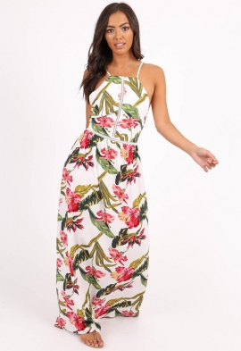 8b856e663b8d Quick View · White Floral Lace-up Back Maxi Dress