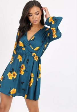 ac62be21a34c Quick View · Teal Floral Flute Sleeve Skater Dress