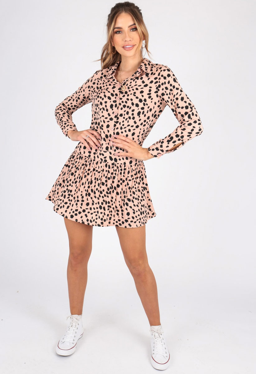 81672180868 Abstract Animal Print Button Down Shirt Dress With Pleated Hem ...