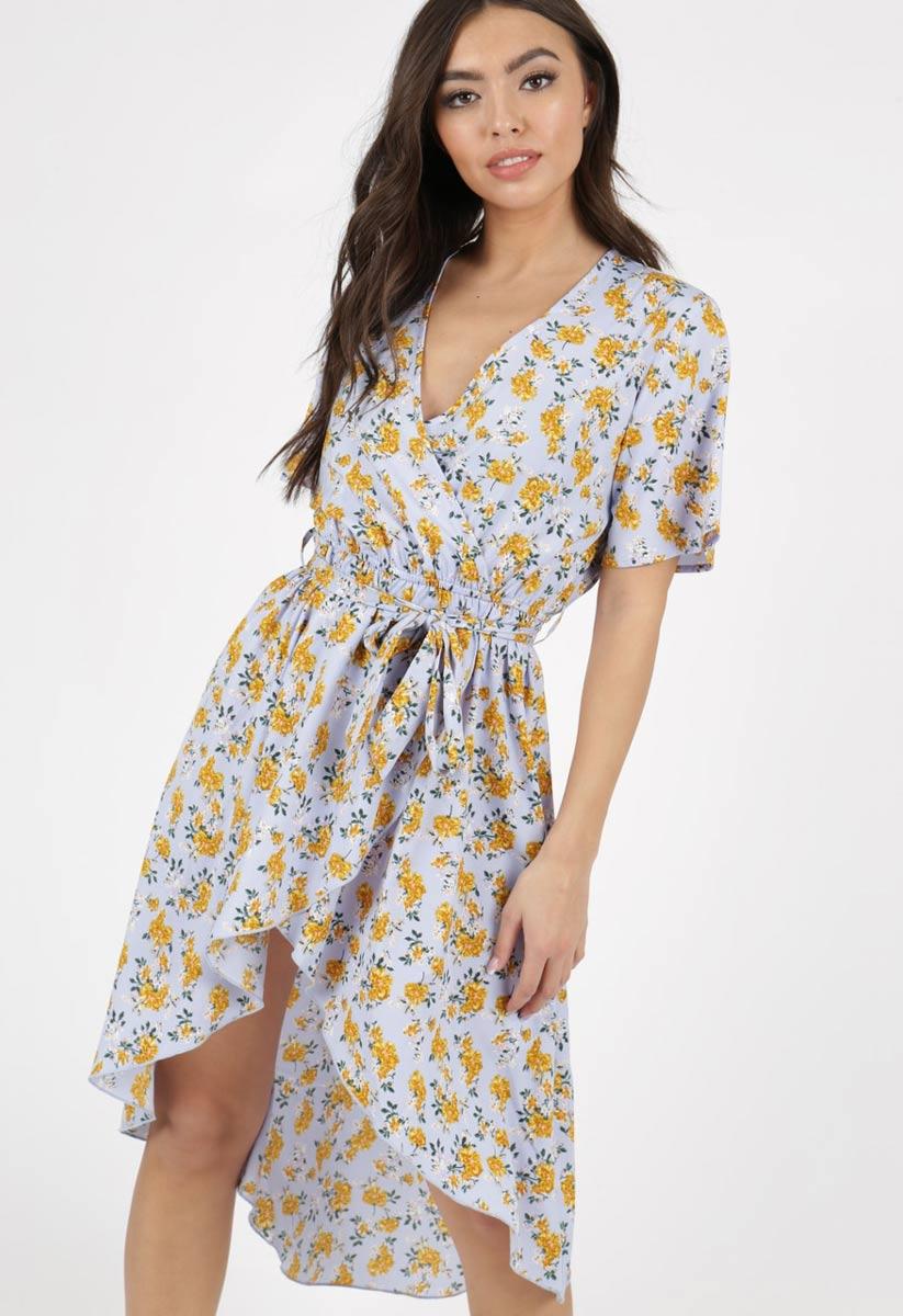 c2ecd2f2c Blue Ditsy Floral Print Dip Hem Wrap Dress   Miss Rebel