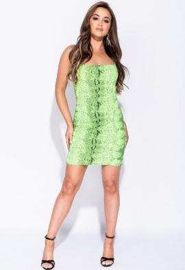e9a59210948b Quick View · Neon Green Snake Print Cami Style Bodycon Mini Dress